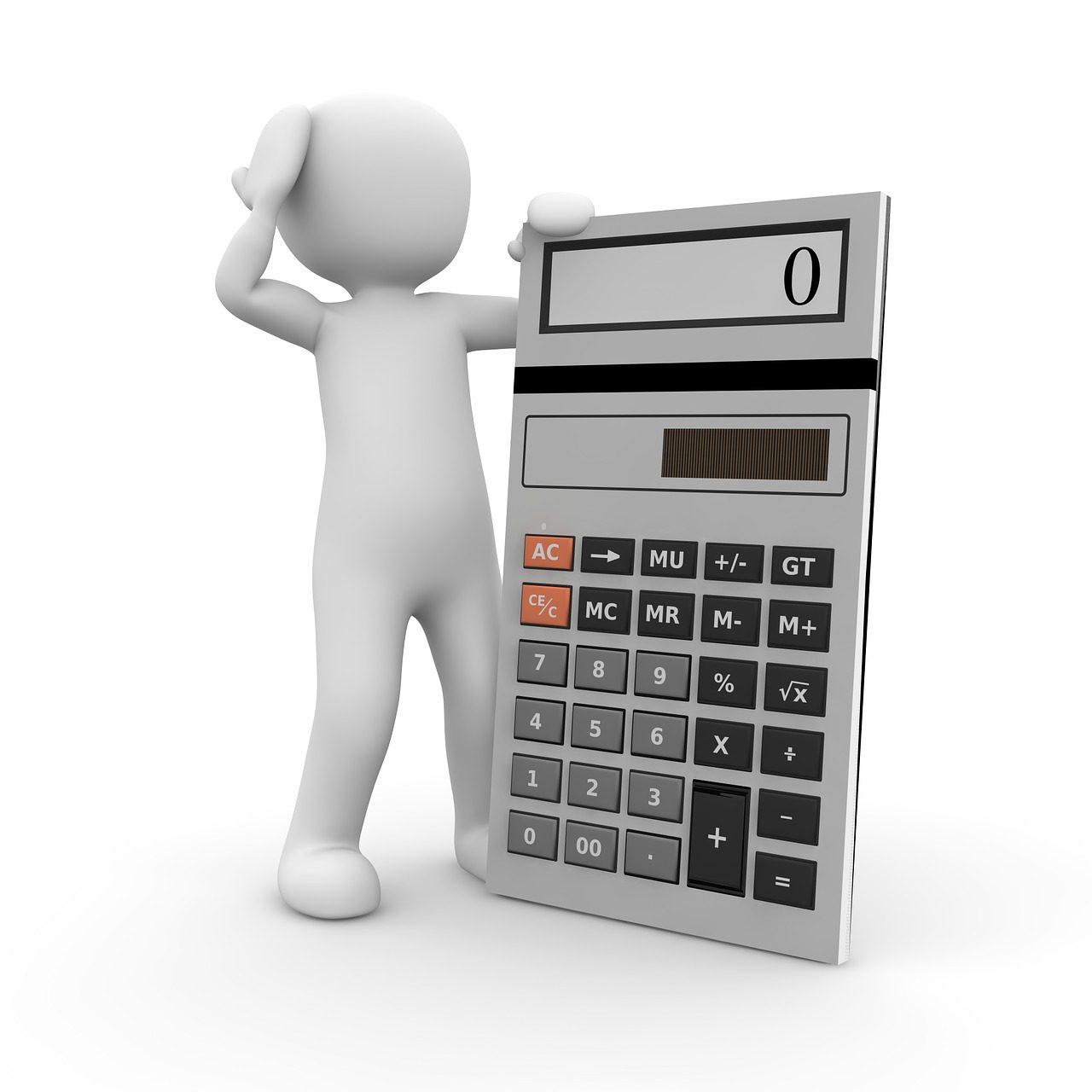 A cartoon person leaning against a calculator